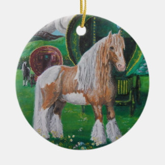 Silver and gold romantic horse and van Double-Sided ceramic round christmas ornament