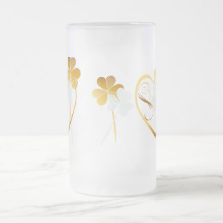 Silver and Gold Shamrocks Frosted Glass Beer Mug
