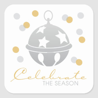 Silver and Gold Sleigh Bell Holiday Stickers