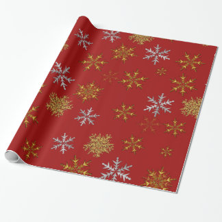 Silver and Gold Snowflakes on Dark Red Christmas Wrapping Paper