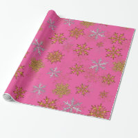 Silver and Gold Snowflakes on Pink Christmas Wrapping Paper