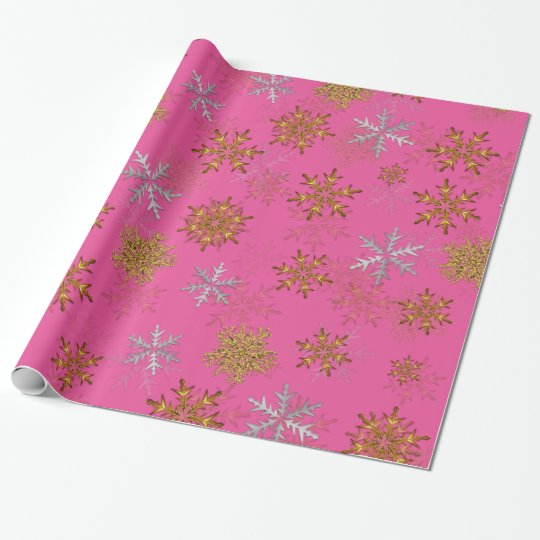 silver and gold snowflakes on pink christmas wrapping paper - Pink Christmas Wrapping Paper