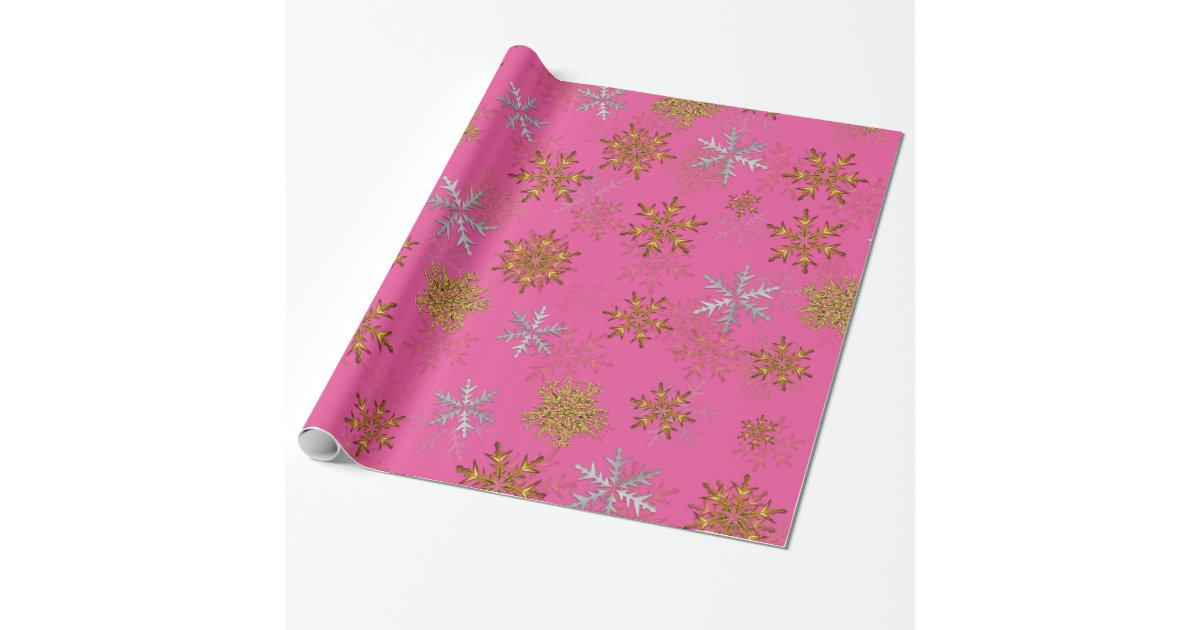 silver and gold snowflakes on pink christmas wrapping paper zazzlecom