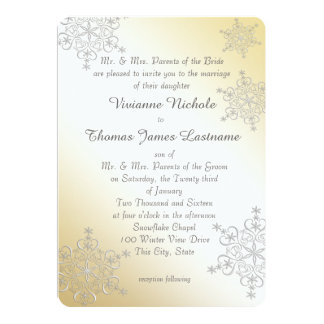 Silver and Gold Snowflakes Wedding Card