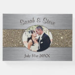 Silver And Gold Sparkle Photo Wedding Guest Book at Zazzle