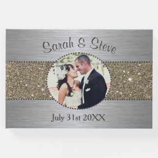 Silver and Gold Sparkle Photo Wedding Guest Book