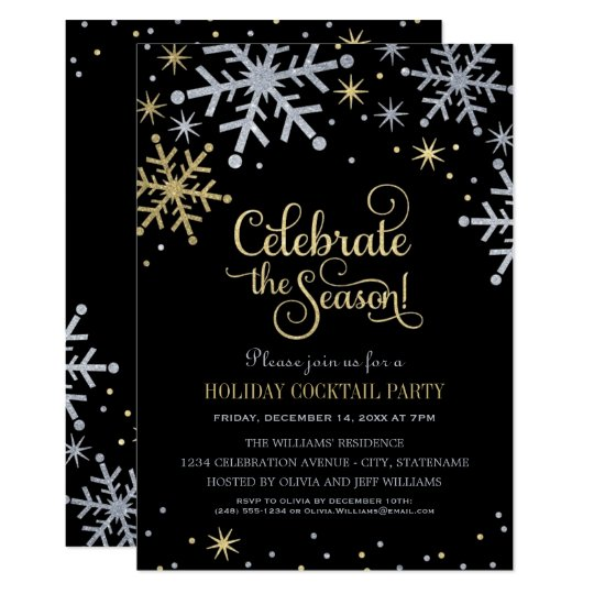 silver and gold sparkling snowflakes holiday party invitation