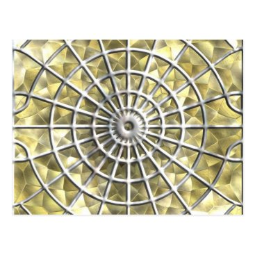 Halloween Themed Silver and Gold Spider Web Postcard