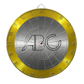 Silver and Gold Stainless Steel Metal Dartboard With Darts
