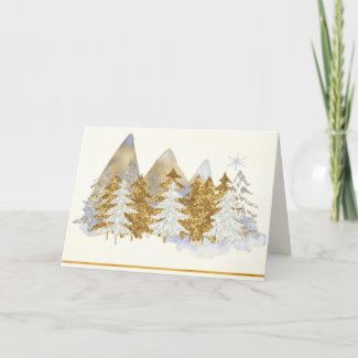 Silver and Gold Winter Landscape Greeting Card