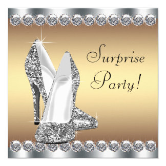 Silver and Gold Womans Surprise Birthday Party Card