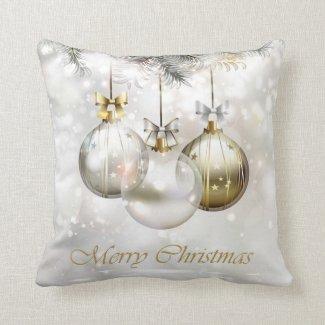 Silver and Golden Christmas Balls & Bows Throw Pillow