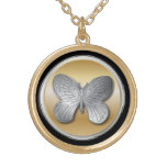 Silver and golden effect butterfly bg2 round pendant necklace