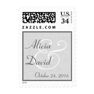 SILVER and GRAY Bride and Groom Wedding V05 Postage Stamp