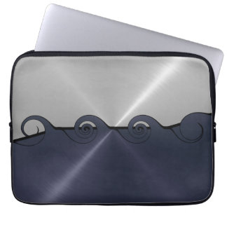 Silver and Gray Stainless Steel Metal Swirl 2 Computer Sleeve