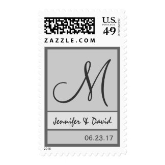 Silver and Gray Wedding Names Monogram Stamps