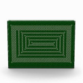 Silver And Green Celtic Rectangular Spiral Awards