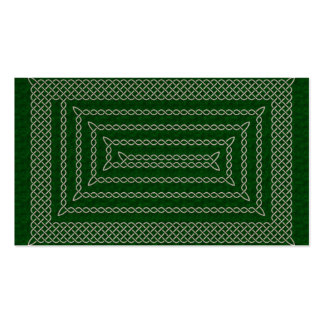 Silver And Green Celtic Rectangular Spiral Double-Sided Standard Business Cards (Pack Of 100)