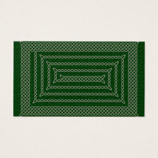 Silver And Green Celtic Rectangular Spiral Business Card