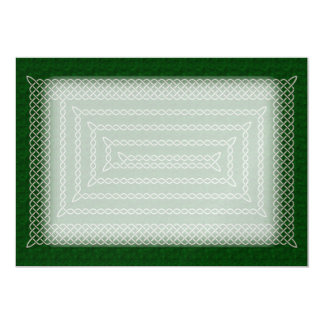 Silver And Green Celtic Rectangular Spiral Card