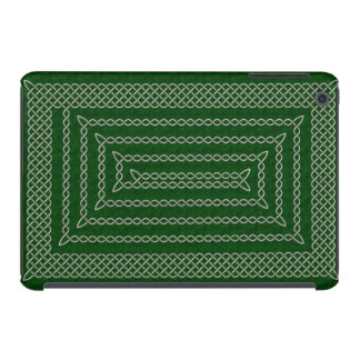 Silver And Green Celtic Rectangular Spiral iPad Mini Cases