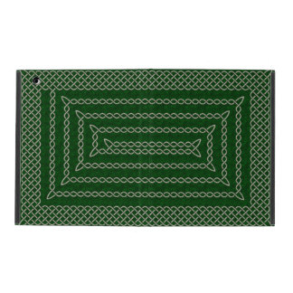 Silver And Green Celtic Rectangular Spiral iPad Cover