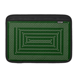 Silver And Green Celtic Rectangular Spiral Sleeve For MacBook Air