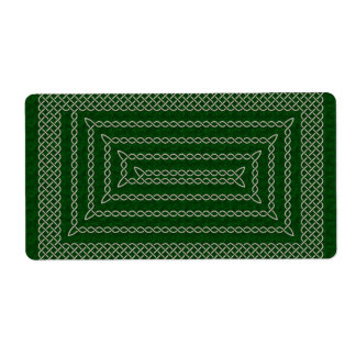 Silver And Green Celtic Rectangular Spiral Label