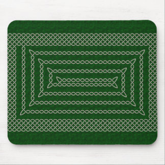 Silver And Green Celtic Rectangular Spiral Mouse Pad
