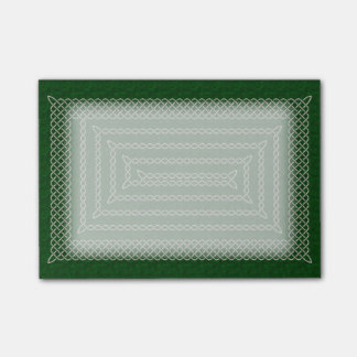 Silver And Green Celtic Rectangular Spiral Post-it® Notes