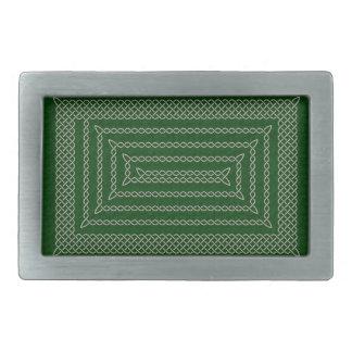 Silver And Green Celtic Rectangular Spiral Rectangular Belt Buckle