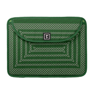 Silver And Green Celtic Rectangular Spiral Sleeve For MacBooks