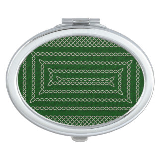 Silver And Green Celtic Rectangular Spiral Travel Mirrors