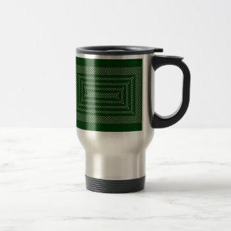 Silver And Green Celtic Rectangular Spiral Travel Mug