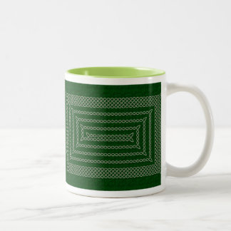 Silver And Green Celtic Rectangular Spiral Two-Tone Coffee Mug