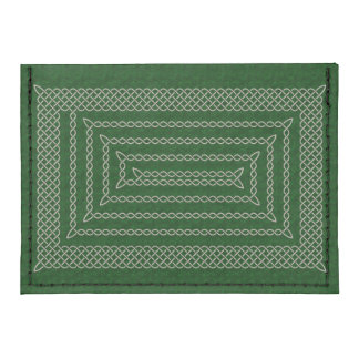 Silver And Green Celtic Rectangular Spiral Tyvek® Card Case Wallet