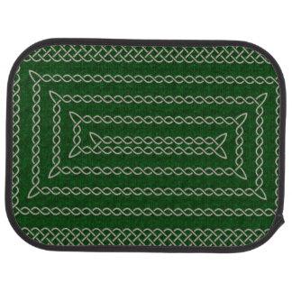 Silver And Green Celtic Rectangular Spiral Car Mat
