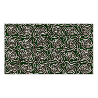 Silver And Green Celtic Spiral Knots Pattern Business Card