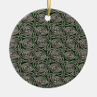 Silver And Green Celtic Spiral Knots Pattern Ceramic Ornament
