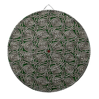 Silver And Green Celtic Spiral Knots Pattern Dart Board