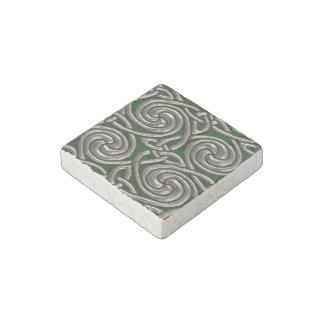 Silver And Green Celtic Spiral Knots Pattern Stone Magnet