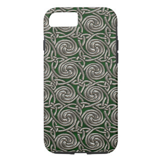 Silver And Green Celtic Spiral Knots Pattern iPhone 7 Case