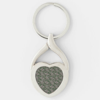 Silver And Green Celtic Spiral Knots Pattern Keychain