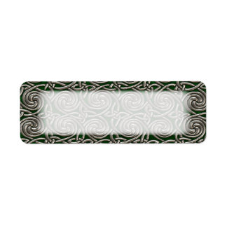 Silver And Green Celtic Spiral Knots Pattern Label