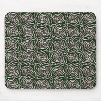 Silver And Green Celtic Spiral Knots Pattern Mouse Pad