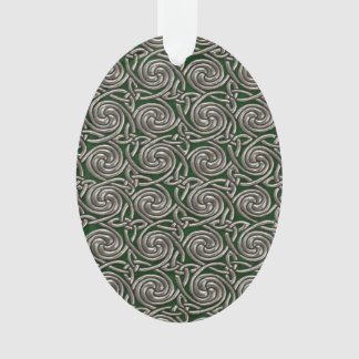 Silver And Green Celtic Spiral Knots Pattern Ornament