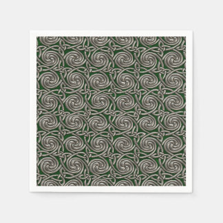 Silver And Green Celtic Spiral Knots Pattern Paper Napkin