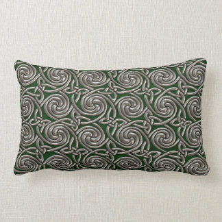 Silver And Green Celtic Spiral Knots Pattern Pillow