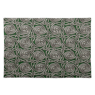 Silver And Green Celtic Spiral Knots Pattern Place Mat