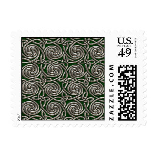 Silver And Green Celtic Spiral Knots Pattern Stamps